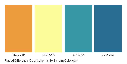 Placed Differently - Color scheme palette thumbnail - #EC9C3D #FCFC9A #3797A4 #296E92
