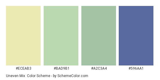Uneven Mix - Color scheme palette thumbnail - #ECEAB3 #BAD9B1 #A2C3A4 #596AA1