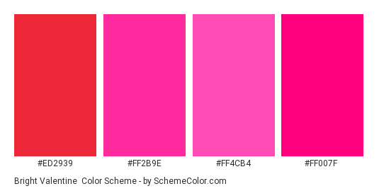 Bright Valentine - Color scheme palette thumbnail - #ED2939 #FF2B9E #FF4CB4 #FF007F