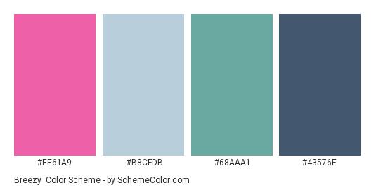 Breezy - Color scheme palette thumbnail - #EE61A9 #B8CFDB #68AAA1 #43576E