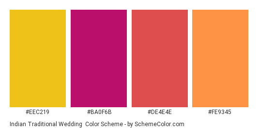 Indian Traditional Wedding - Color scheme palette thumbnail - #EEC219 #BA0F6B #DE4E4E #FE9345
