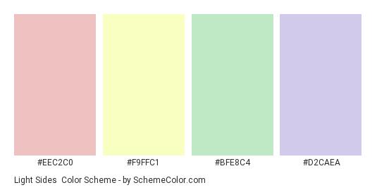 Light Sides - Color scheme palette thumbnail - #EEC2C0 #F9FFC1 #BFE8C4 #D2CAEA