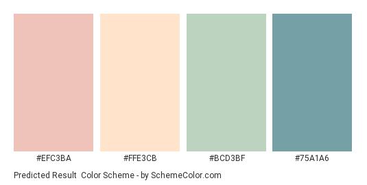 Predicted Result - Color scheme palette thumbnail - #EFC3BA #FFE3CB #BCD3BF #75A1A6