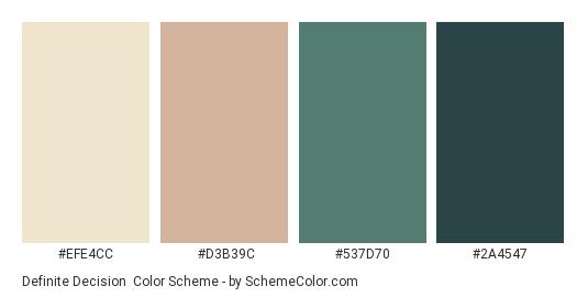 Definite Decision - Color scheme palette thumbnail - #EFE4CC #D3B39C #537D70 #2A4547