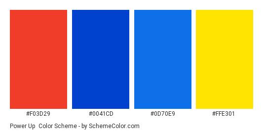Power Up - Color scheme palette thumbnail - #F03D29 #0041CD #0D70E9 #FFE301