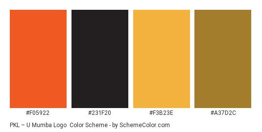 PKL – U Mumba Logo - Color scheme palette thumbnail - #F05922 #231F20 #F3B23E #A37D2C