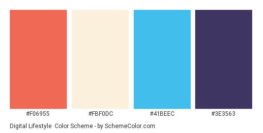Digital Lifestyle - Color scheme palette thumbnail - #F06955 #FBF0DC #41BEEC #3E3563