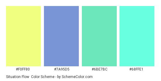 Situation Flow - Color scheme palette thumbnail - #F0FF80 #7A95D5 #6BE7BC #68FFE1