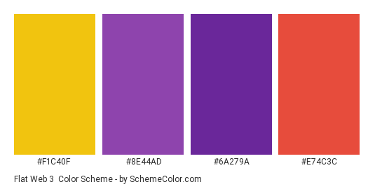 Flat Web 3 - Color scheme palette thumbnail - #F1C40F #8E44AD #6A279A #E74C3C