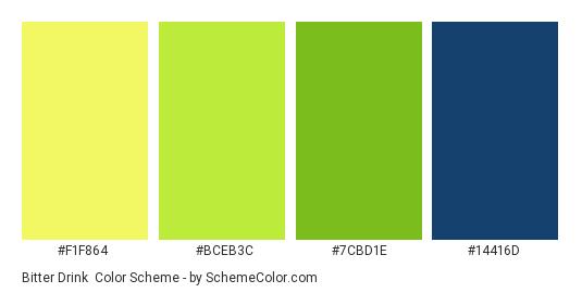 Bitter Drink - Color scheme palette thumbnail - #F1F864 #BCEB3C #7CBD1E #14416D