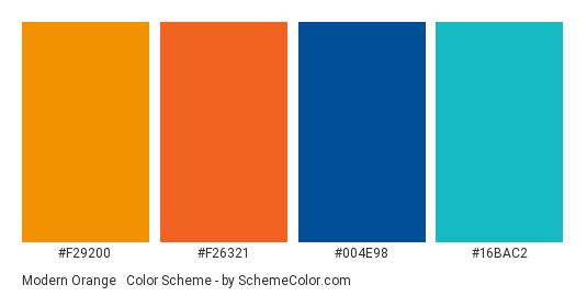 Modern Orange & Blue - Color scheme palette thumbnail - #F29200 #F26321 #004E98 #16BAC2