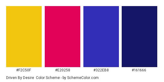 Driven By Desire - Color scheme palette thumbnail - #F2C50F #E20258 #322EB8 #161666