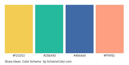 Share Ideas - Color scheme palette thumbnail - #F2CD52 #25BA9D #406AA6 #FF9F82