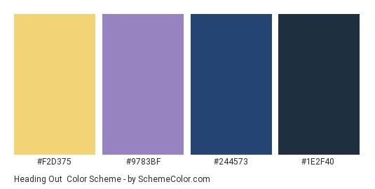 Heading Out - Color scheme palette thumbnail - #F2D375 #9783BF #244573 #1E2F40