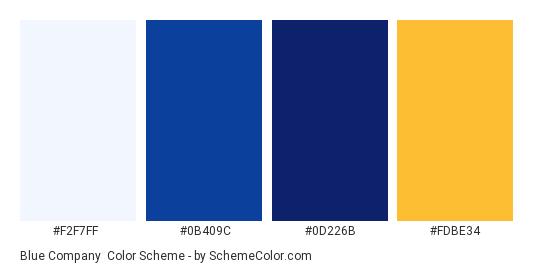 Blue Company - Color scheme palette thumbnail - #F2F7FF #0B409C #0D226B #FDBE34