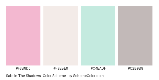 Safe in the Shadows - Color scheme palette thumbnail - #F3B8D0 #F3EBE8 #C4EADF #C2B9B8