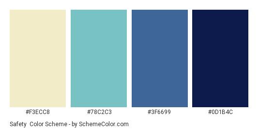 Safety - Color scheme palette thumbnail - #F3ECC8 #78C2C3 #3F6699 #0D1B4C