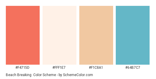 Beach Breaking - Color scheme palette thumbnail - #F4715D #FFF1E7 #F1C8A1 #64B7C7
