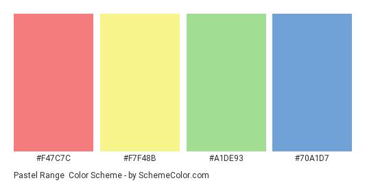 Pastel Range - Color scheme palette thumbnail - #F47C7C #F7F48B #A1DE93 #70A1D7