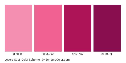 Lovers Spot - Color scheme palette thumbnail - #F48FB1 #F06292 #AD1457 #880E4F