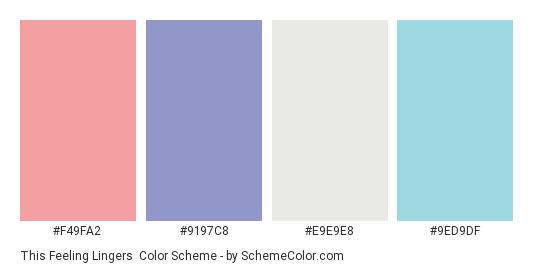 This Feeling Lingers - Color scheme palette thumbnail - #F49FA2 #9197C8 #E9E9E8 #9ED9DF