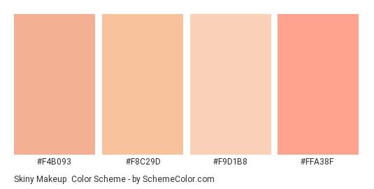 Skiny Makeup - Color scheme palette thumbnail - #F4B093 #F8C29D #F9D1B8 #FFA38F