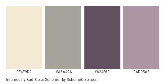 Infamously Bad - Color scheme palette thumbnail - #F4E9D2 #A6A49A #624F60 #AD95A3