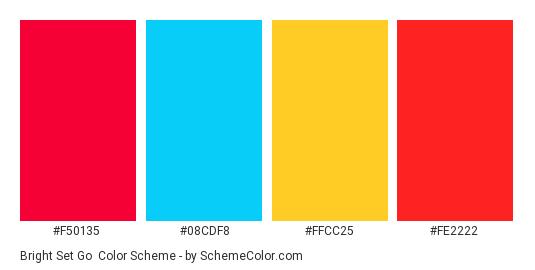 Bright Set Go - Color scheme palette thumbnail - #F50135 #08CDF8 #FFCC25 #FE2222