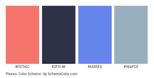 Plasso - Color scheme palette thumbnail - #F5756C #2F3148 #6585ED #98AFC0