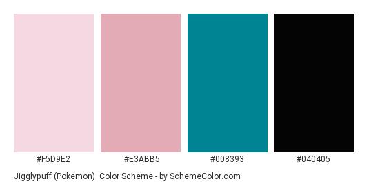 Jigglypuff (Pokemon) - Color scheme palette thumbnail - #F5D9E2 #E3ABB5 #008393 #040405