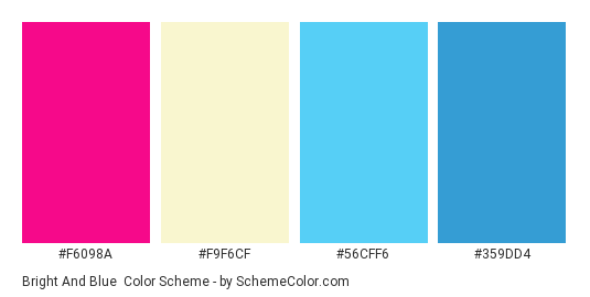 Bright and Blue - Color scheme palette thumbnail - #F6098A #F9F6CF #56CFF6 #359DD4