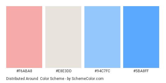 Distributed Around - Color scheme palette thumbnail - #F6ABA8 #E8E3DD #94C7FC #5BA8FF