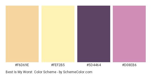 Best is My Worst - Color scheme palette thumbnail - #F6D69E #FEF2B5 #5D4464 #D08EB6