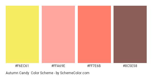 Autumn Candy - Color scheme palette thumbnail - #F6EC61 #ffa69e #ff7e6b #8c5e58