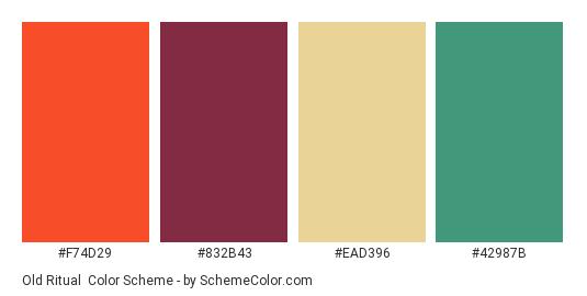 Old Ritual - Color scheme palette thumbnail - #F74D29 #832B43 #ead396 #42987b