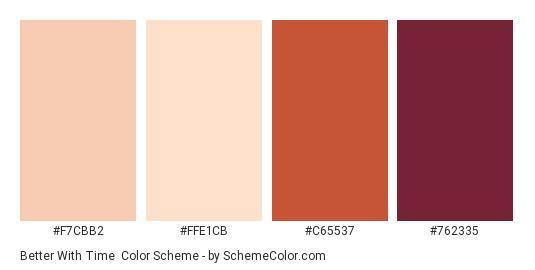 Better with Time - Color scheme palette thumbnail - #F7CBB2 #FFE1CB #C65537 #762335