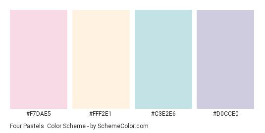 Four Pastels - Color scheme palette thumbnail - #F7DAE5 #FFF2E1 #C3E2E6 #D0CCE0