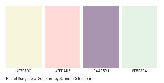 Pastel Song - Color scheme palette thumbnail - #F7F5DC #FFDAD6 #AA95B1 #E5F3E4