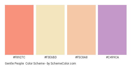 Gentle People - Color scheme palette thumbnail - #F8927C #F3E6BD #F5C8A8 #C499CA