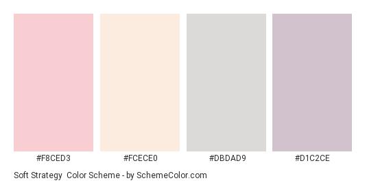 Soft Strategy - Color scheme palette thumbnail - #F8CED3 #FCECE0 #DBDAD9 #D1C2CE