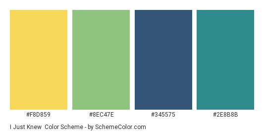 I Just Knew - Color scheme palette thumbnail - #F8D859 #8EC47E #345575 #2E8B8B