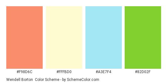 Wendell Borton - Color scheme palette thumbnail - #F98D6C #FFFBD0 #A3E7F4 #82D02F