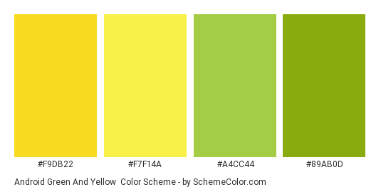 Android Green And Yellow Color Scheme Palette Thumbnail F9db22 F7f14a A4cc44