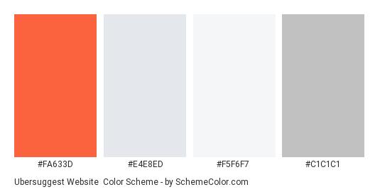 Ubersuggest Website - Color scheme palette thumbnail - #FA633D #E4E8ED #F5F6F7 #C1C1C1