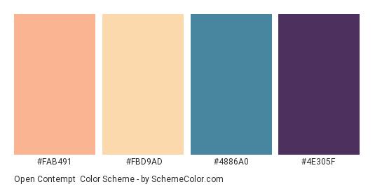 Open Contempt - Color scheme palette thumbnail - #FAB491 #FBD9AD #4886A0 #4E305F
