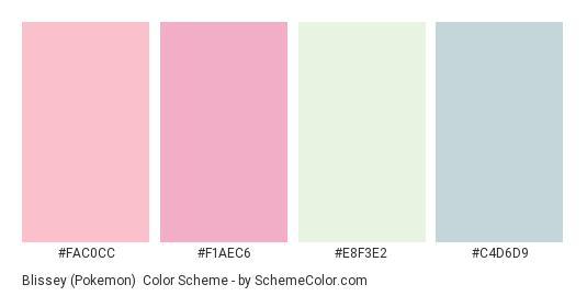 Blissey (Pokemon) - Color scheme palette thumbnail - #FAC0CC #F1AEC6 #E8F3E2 #C4D6D9