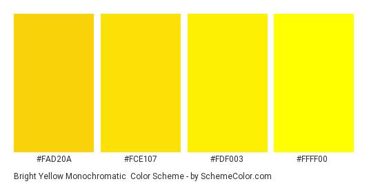 Bright Yellow Monochromatic - Color scheme palette thumbnail - #FAD20A #FCE107 #FDF003 #FFFF00