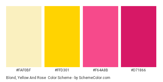 Blond, Yellow and Rose - Color scheme palette thumbnail - #FAF0BF #FFD301 #F64A8B #D71866