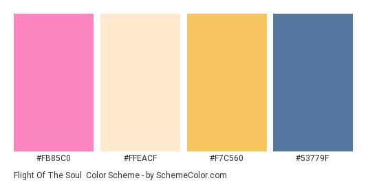 Flight of the Soul - Color scheme palette thumbnail - #FB85C0 #FFEACF #F7C560 #53779F