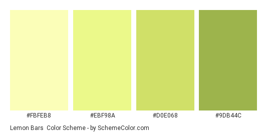 Lemon Bars - Color scheme palette thumbnail - #FBFEB8 #EBF98A #D0E068 #9DB44C